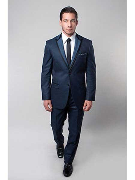 Mens Slim Fit 2 Button Royal Blue Satin Trim Peak Notch Lapel Side Vent Dress Suits for Men