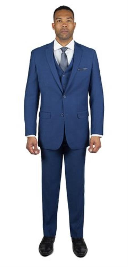 Mens Royal Blue Shark Skin 2 Button Three Piece TR Blend Dress Suits for Men Affordable - Discounted Priced On Clearance Sale