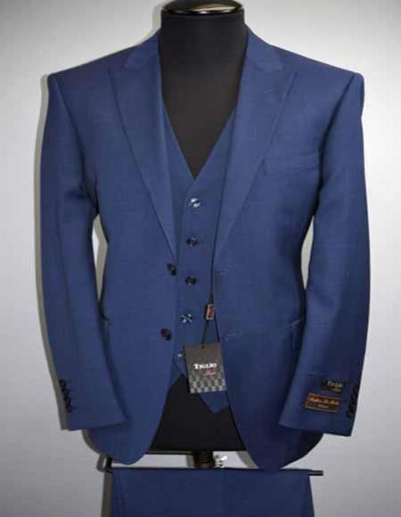 Buy SM2694 Tiglio Luxe Tufo Men's 2 Button Modern Fit Royal Blue Peak Lapel Wool Vested Suit