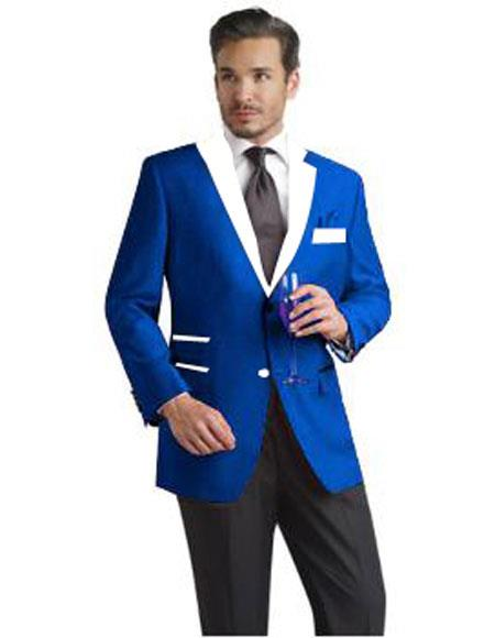 Mens 2 Button Single Breasted Royal Blue and White Lapel Tuxedo Dress Suits for Men