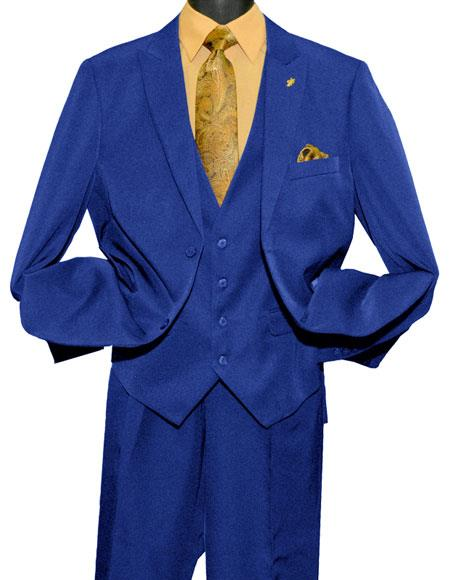 Falcone Men's 2 Button Single Breasted Vested Fashion Royal Blue Dress Suits for Men