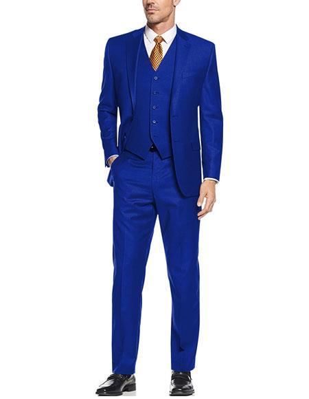 Men's 2 Button 3 Piece Vested Modern Fit Flat Front Pants Dress Suits for Men in Sapphire ~ Royal Blue