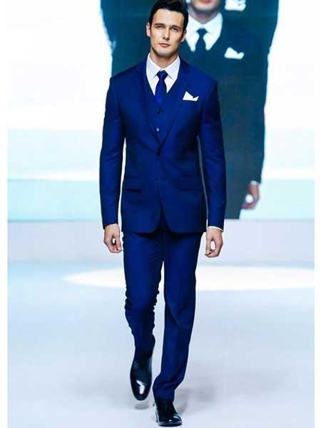 Men's 2 Button Slim Fit  Royal Blue  Wedding Tuxedo