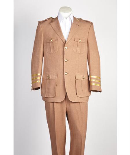 Mens diamond nail heads Safari Military Style 2 Button Rust Suit