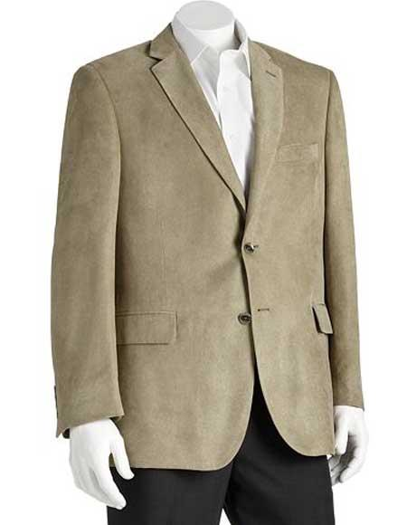 Microsuede Men's  2 Button Sage Polyester Double Vent Classic Fit Blazer