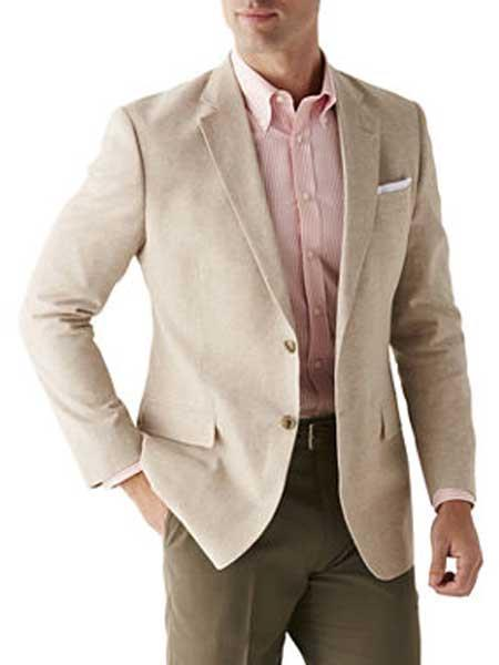 Men's Sand Linen Cotton 2 Button Sport Coat Long Sleeves Classic Fit Blazer