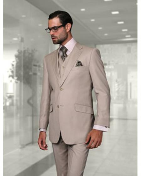 Statement Confidence Mens Sand 2 Button Modern Fit Wool Fine Brands Best Italian Style Cut Suits