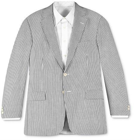 SKU#85152 Two-button Seersucker White & Black~Gry Stripe ~ Pinstripe Suit