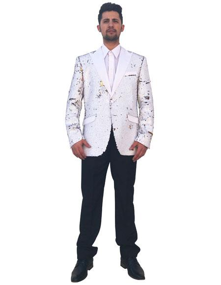 Men's White Shiny Sequin 2 Button Cheap Priced Designer Fashion Dress Casual Blazer For Men On Sale Blazer ~ Sport Coat
