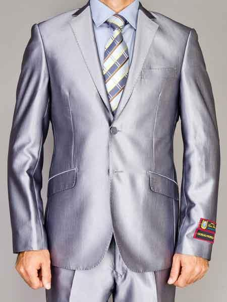 Mens Notch Lapel 2 Button Shiny Silver Slim Fit Double Vent Suit
