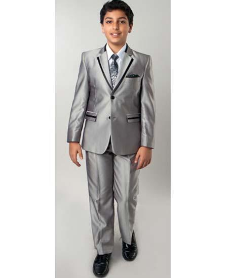 Boys Suits Mens Silver Two Toned Trimmed Kids Sizes Tuxedo Sharkskin Looking Perfect for toddler Suit wedding  attire outfits