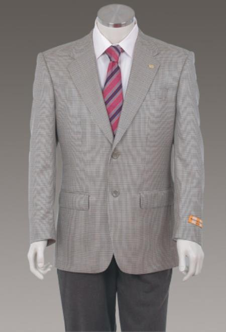 Mens Sport Coat Jacket Blazer 100% Wool Patterned Fabric Two Button Single Breasted Grey
