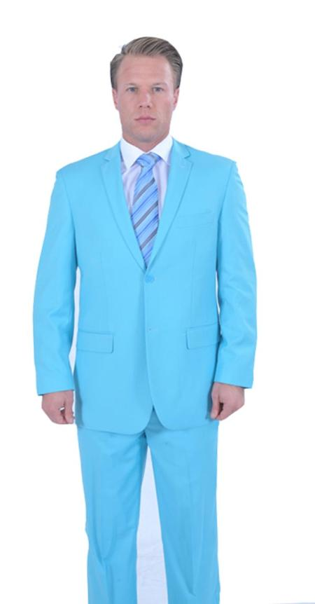 Mens 2 Piece affordable suit online sale - Light Blue ~ Sky Baby Blue