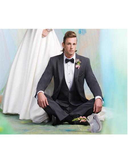 Men's  2 Button  Steel Gray Vest Suit