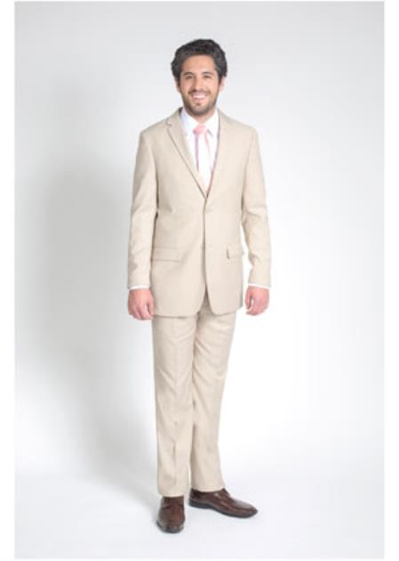 Mens 2 Button Groomsmen ~ Groom Wedding Tan/Beige Slim Fit Suit