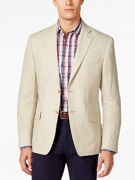 Mens 2 Button Notch Lapel Tan Solid Linen Classic Fit Sport Coat Blazer