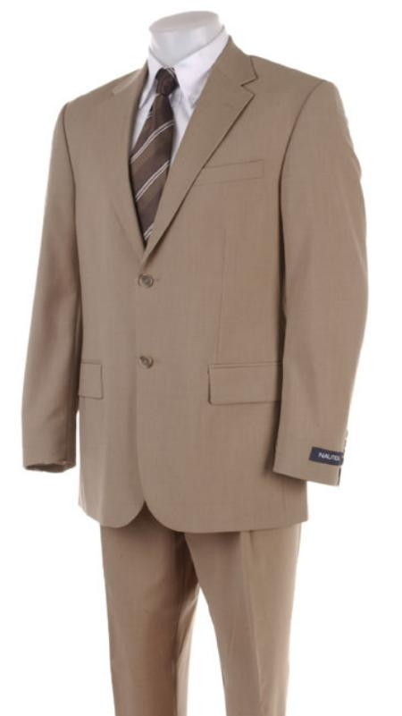 Mens 2 Two Button Super 100s HW0462 Coffe ~ Tan ~ Beige Business Summer 2 Piece Suits For Men Double Side Vent