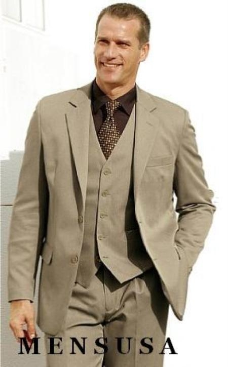 High Quality Dark Tan ~ Beige 2 Btn Vested 100% Wool Feel Poly Rayon three piece Modern Fit 2 Piece Suits For Men Vented