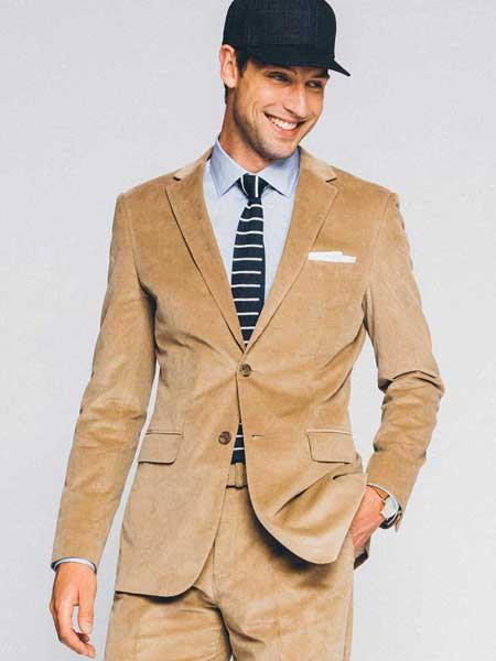 Mens 2 Buttons Style CORDUROY SUIT ( Blazer Sportcoat + Slacks) Tan Suit