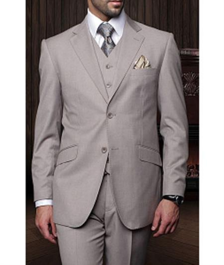 Statement Confidence Mens Tan 3 Piece 2 Button Italian Designer Fine Brands Best Italian Style Cut Suits