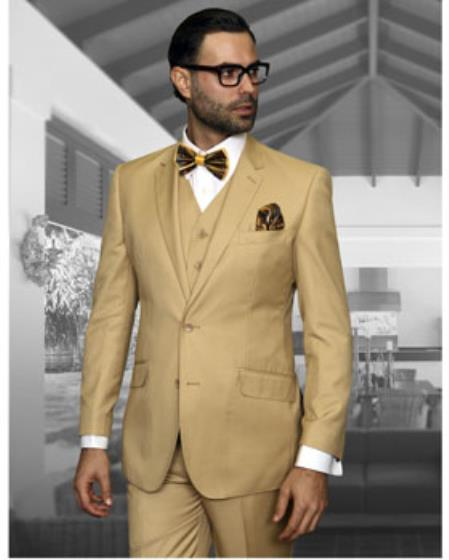 Statement Confidence Mens Chestnut ~ Khaki ~ Bronze ~ Camel  2 Button Modern Fit Wool Fine Brands Best Italian Style Cut Suits