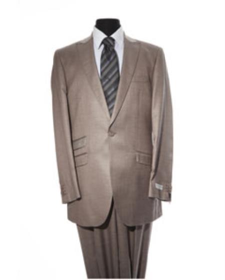 Mens Tan 1 Button 2 Piece Suit