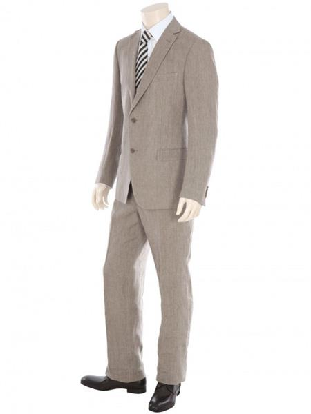 dark tan ~ taupe 2 button 1 linen fabric suit flat front pants