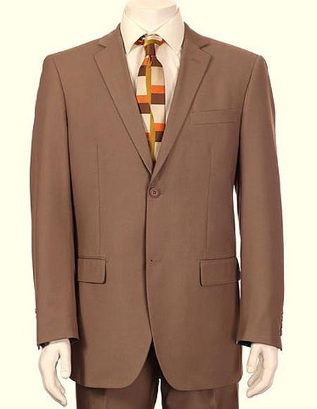 Mens Vitali Single Breasted Authentic 2 Button Tan Slim Fit Suit