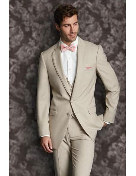 Men's Tan 2 Button  Vest  Suit