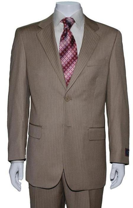 Mens Two Button Tan ~ Beige Mini Pinstripe Cheap Priced Business Suits Clearance Sale