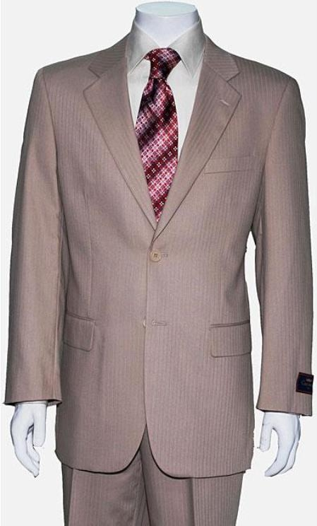 Mens Two Button Tan ~ Beige Shadow Stripe ~ Pinstripe Cheap Priced Business Suits Clearance Sale