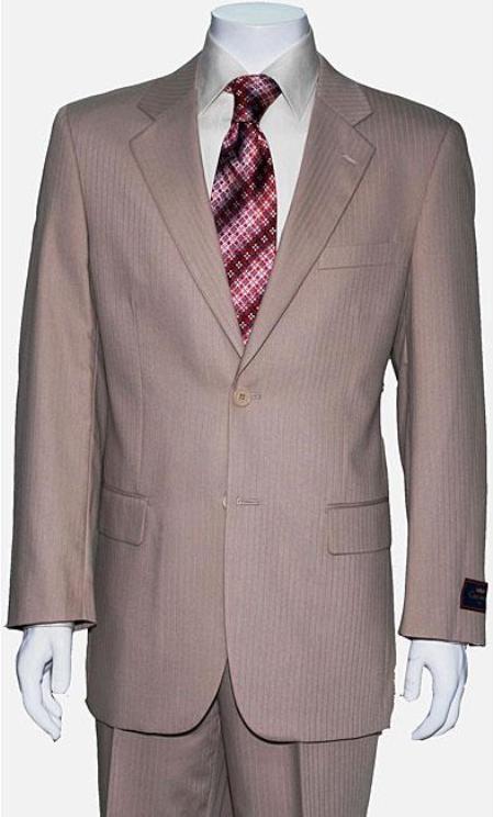 SKU#JW0201 Mens Two Button Tan ~ Beige Shadow Stripe ~ Pinstripe Suit
