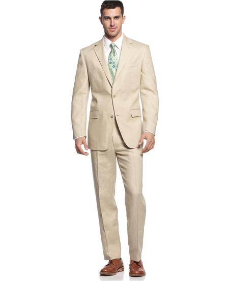 Two Button Pure Linen Suit Solid Tan ~ Beige