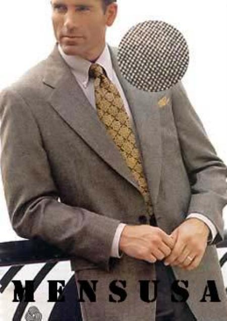 SKU#HKS231 2 Btn Mini Pindots Teakweave Nailhead Salt & Pepper Birdseye Patterned Texturized Dark Gray~Taup Mix Suit