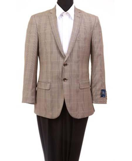 Men's Taupe Wool 2 Button Slim Fit Windowpane Sport Coat Blazer