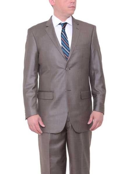 Buy SM1802 Men's 2 Button Big & Tall Taupe Classic Fit Side Vents Textured Suit