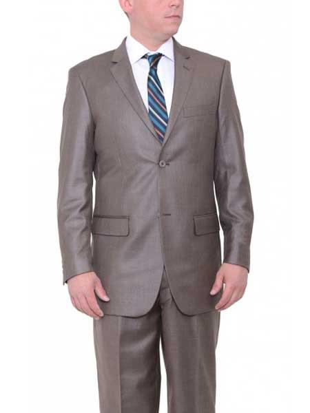 Buy SM1887 Men's Two Button Big & Tall Single Breasted Classic Fit Textured Taupe Brown Suit