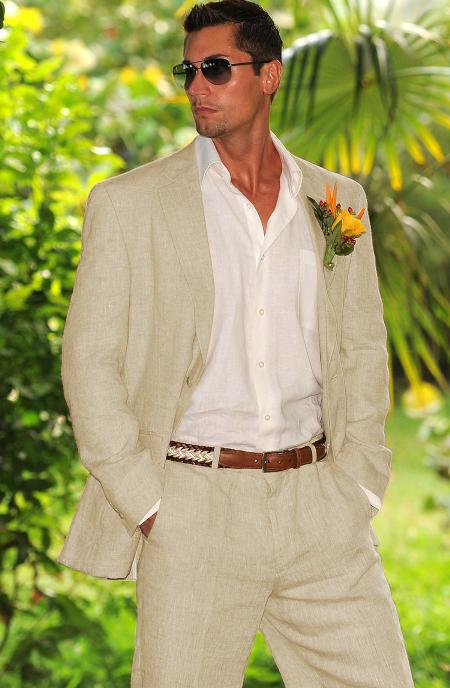 Men's Natural ~ Sand ~ Light Tan 100% Linen Suit In Men's & Boys Sizes Perfect For Toddler Suit Wedding Attire Outfits