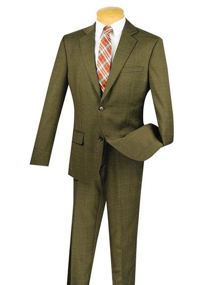 100% Wool 2 Button Window Pane ~ Plaid Slim Fit Suit Side Vented Taupe