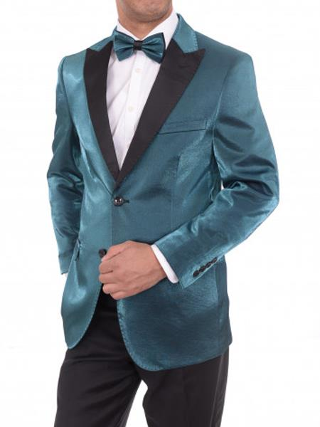 Men's 2 Button Slim Fit Teal Sharkskin Blazer Sportcoat