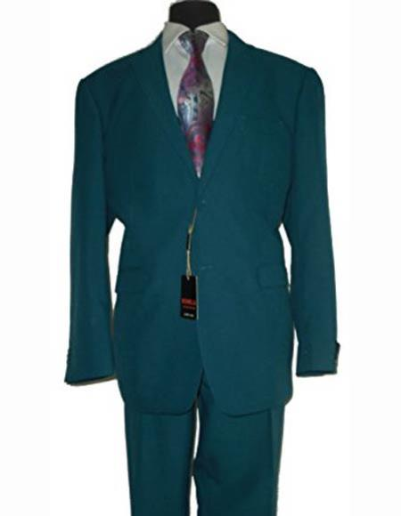 Men's Jewel Tone Two Button  Stylish Fit 2 Piece 100% Polyester Dark Teal Blue ~ Cobalt Cheap Priced Business Suits Clearance Sale