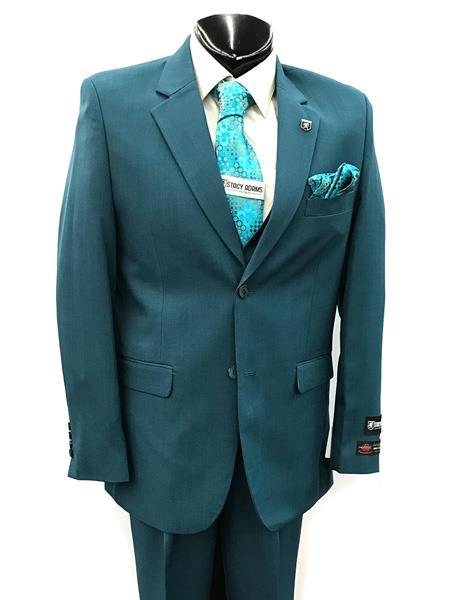 Men's Two Button Teal Suit