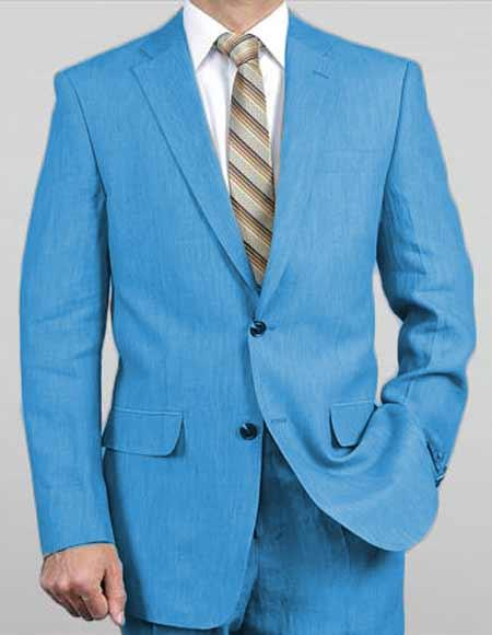 Men's Sizes Turquoise Light Weight 2 Button Real Linen Suit ( Jacket + Pants ) Spring / Summer