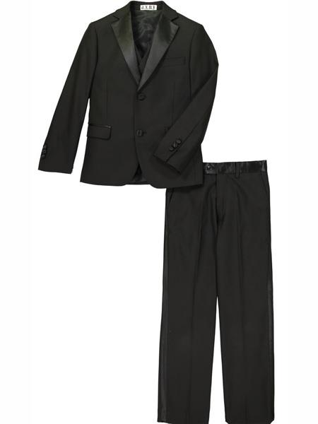 3 Pc Sating Collar Kids Sizes Notch Lapel Black Tuxedo Suit Perfect for toddler wedding  attire outfits