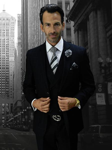 CALABRIA BLACK Statement Suits Clothing Confidence Plaid Suit