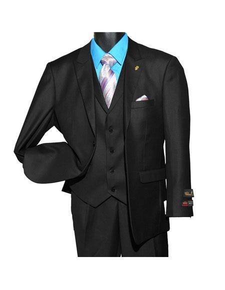 Falcone Men's Single Breasted Vested 2 Button Vintage Black Peak Lapel Suit