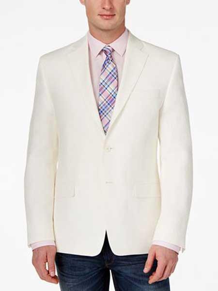 Mens Classic Fit 2 Button White Notch Lapel Solid Linen Sport Coat Blazer