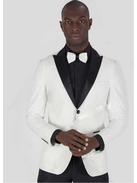 Buy SM1911 Men's White/Silver 2 Button Glitter Checkered Peak Lapel Jacket Matching Bowtie