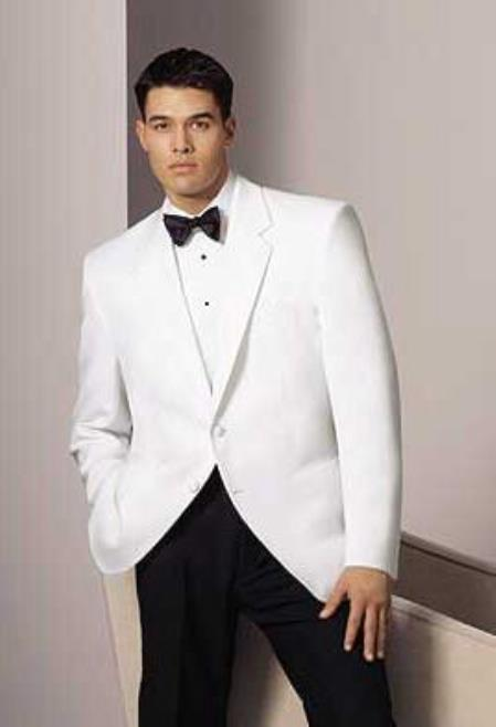 Mens 2 Button Notch Lapel White Dinner Jacket