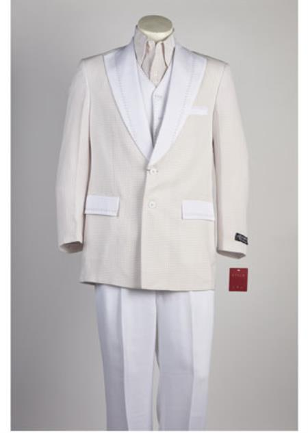 Mens Single Breasted 2 Button Suit White Red